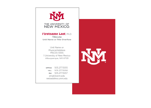 Business cards unm brand guidelines the university of new mexico vertical red business card layout colourmoves